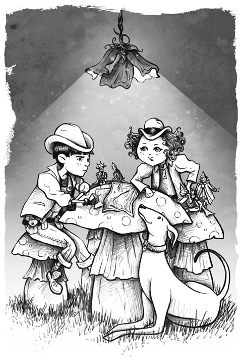 The Rescueteers' Christmas Mission chapter illustration, pencil/digital shading<br>Chapter book written by Annette O'Leary-Coggins, 2010