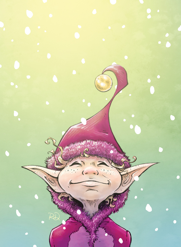 Elf, pencil/digital<br>Costume Designer's Guild holiday card, 2011