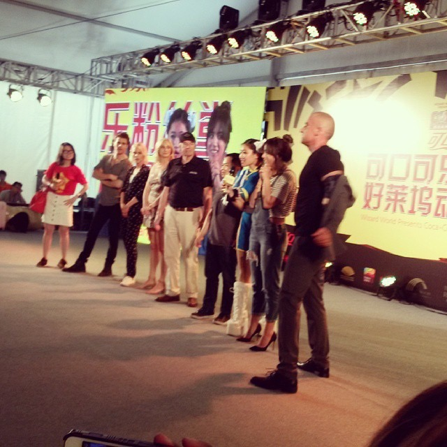 On stage with Paul Wesley, Candice Accola, Claire Holt, Matthew Moy, Chloe Bennett and Dominic Purcell