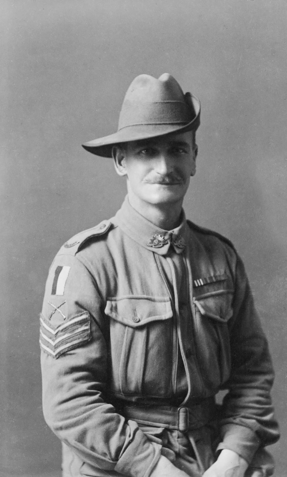 Studio portrait of Sgt. (Hon. Lieutenant) John Charles Aitken MM(AWM H00124)