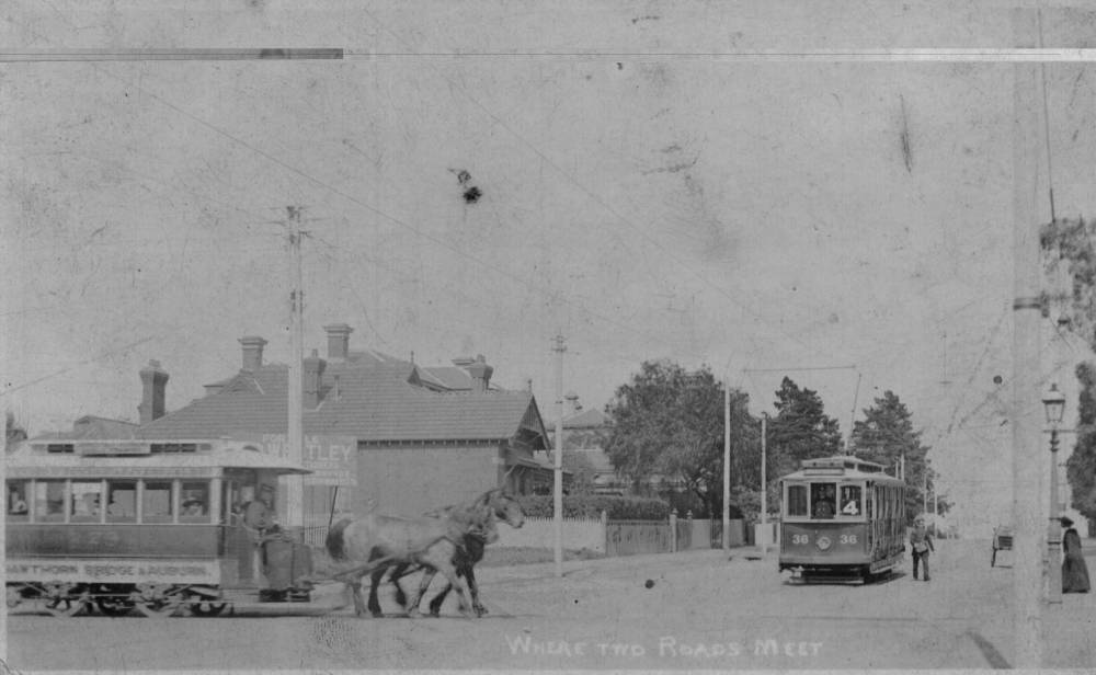 Glenferrie & Riversdale Roads in 1913-14. This postcard was found in harvey's personal effects. (RICHARD ADDERSON COLLECTION)