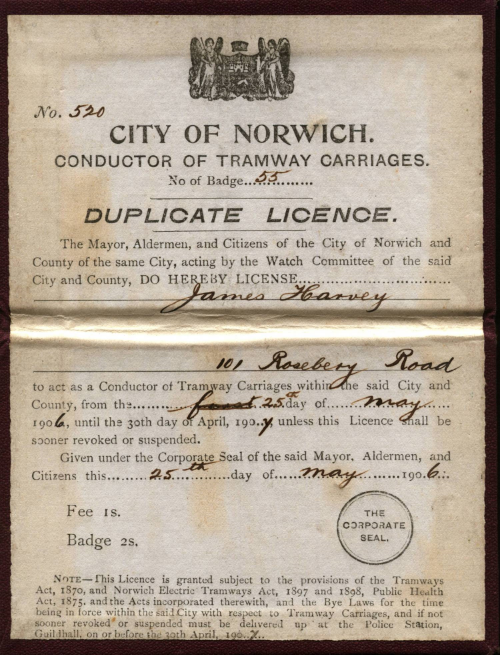 City of Norwich conductor licence for James Harvey. (From the collection of Richard Adderson)