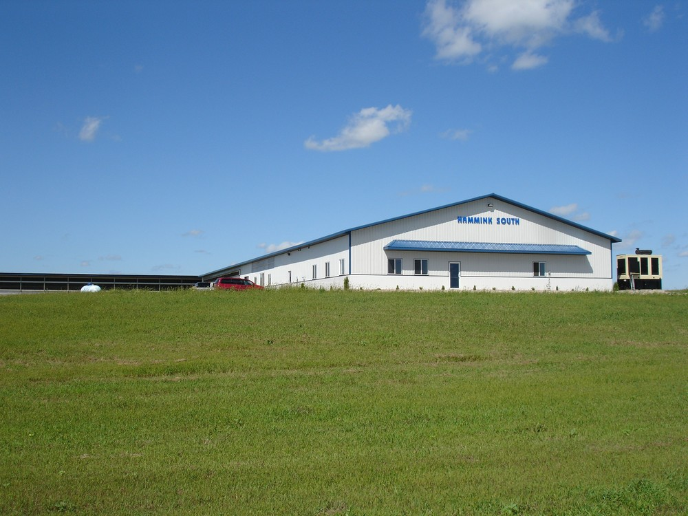 Hammink South  Front view of our cross ventilated barn