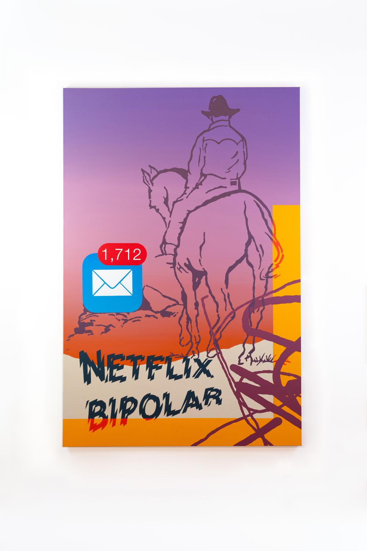 "Netflix Bipolar , 2015 Acrylic on Canvas 48"" x 72""  $3,500.00 (SOLD)"