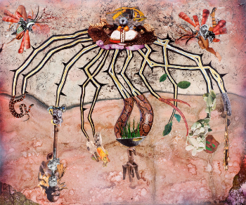 """Eleven Secrets,"" 2015, by Wangechi Mutu. From the NY Times ""Five Artists, Five Book Reviews"" where it appeared courtesy of the artist and Gladstone Gallery"