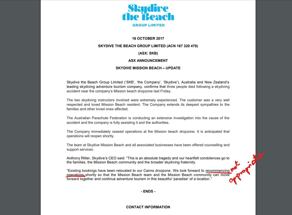 Should Skydive Australia have taken the red pen to this statement?