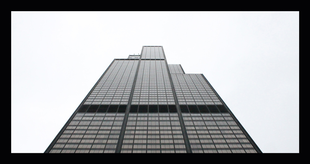 Just a couple steps away is  Willis Tower  (formerly Sears Tower). I liked this photo so much I put a black border around it (black is my favorite color).
