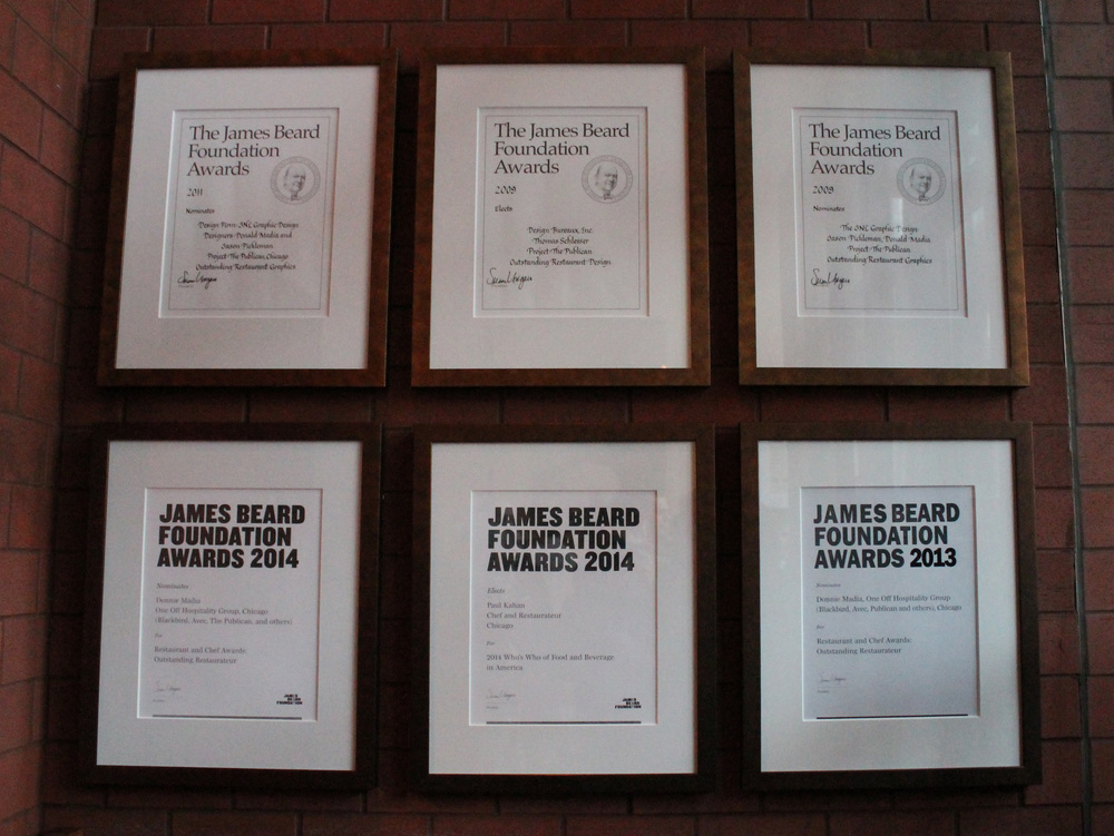 They proudly display their James Beard accolades in the foyer.