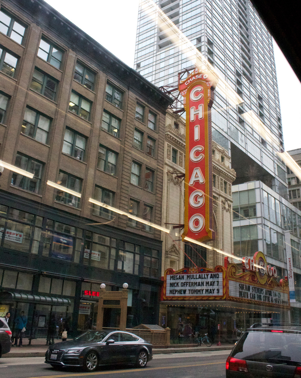 When heading into downtown you can see notable places such as the  Chicago Theater .