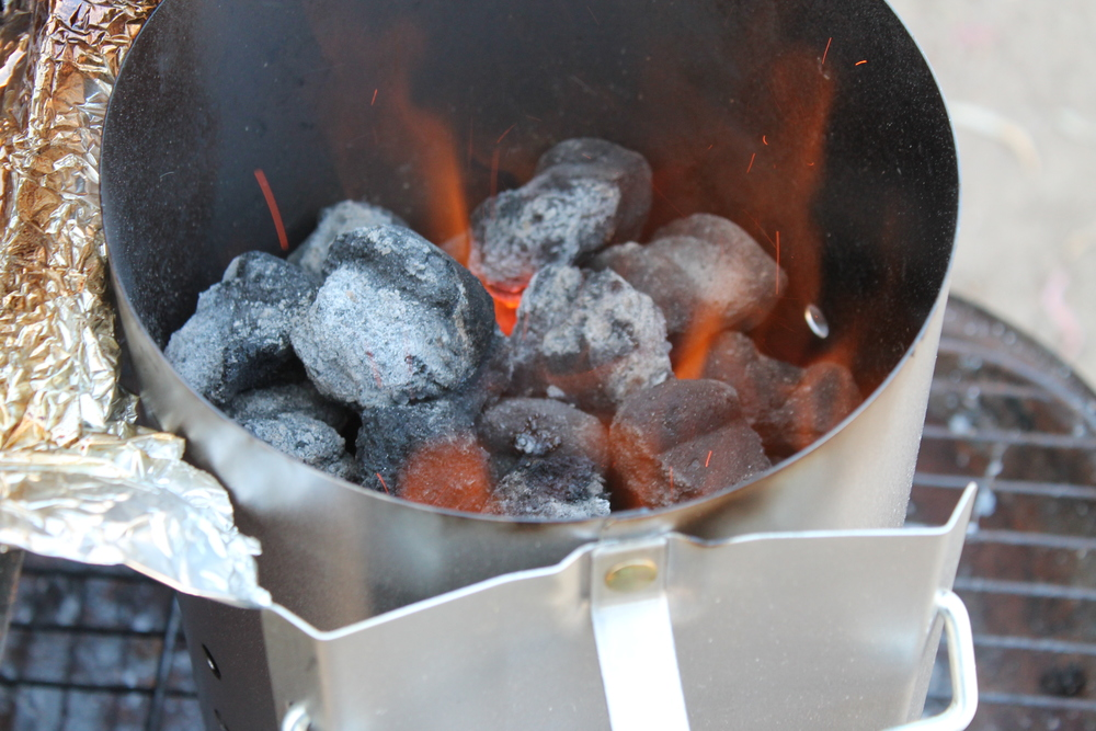 Parents got hungry sooner then expected, so started another batch of coals to turn up the heat!