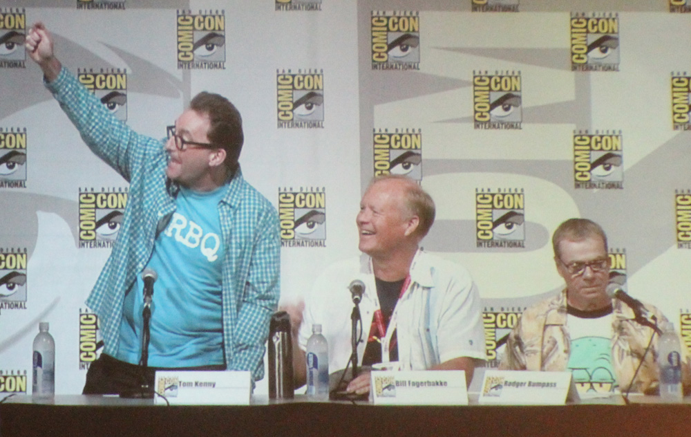 Voice actors Tom Kenny (SpongeBob), Bill Fagerbakke (Patrick Star), and Rodger Bumpass (Squidward).