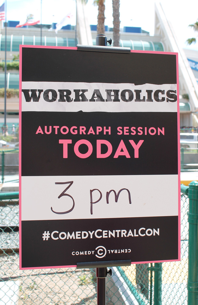 Across the street was the Comedy Central hub. Got in line to meet the cast from  Workaholics !