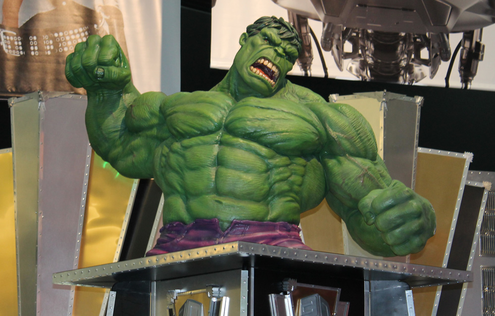 The Hulk welcomes me to the show floor with a fist bump.