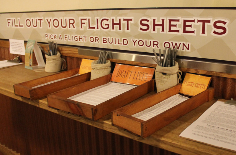 "Upon entering, you will see this neat setup for flight sheets on your left. The beers are listed on a ""SCALE OF INTENSITY"" dependent on their ABV%."