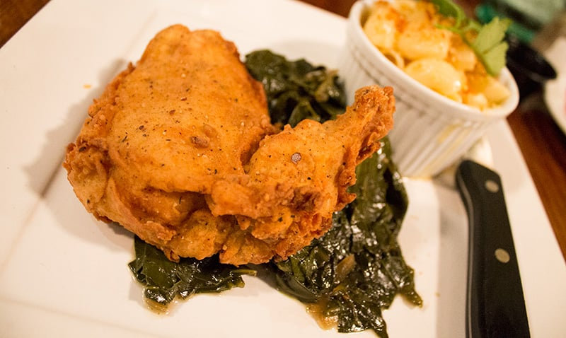 Buttermilk marinated fried chicken with 3-cheese mac n' cheese (parmesan, gouda, and oops I forgot the last one) and some very satisfying collared greens.