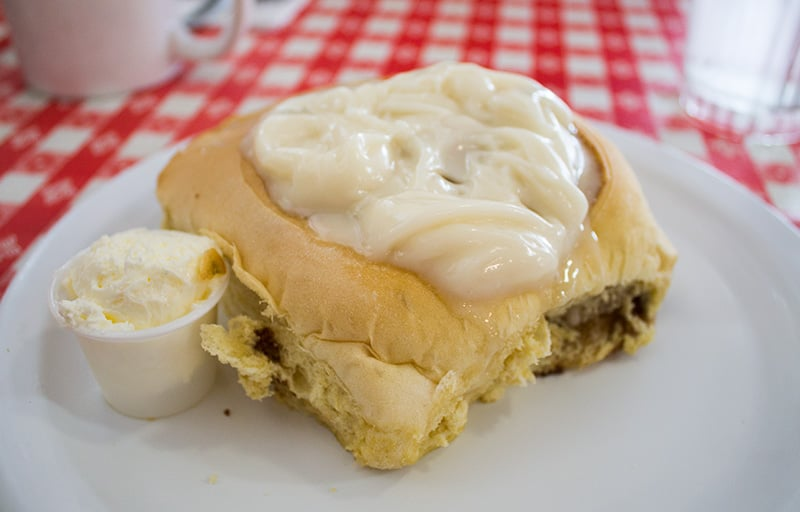 Started with a super delicious cinnamon roll with whipped honey butter.