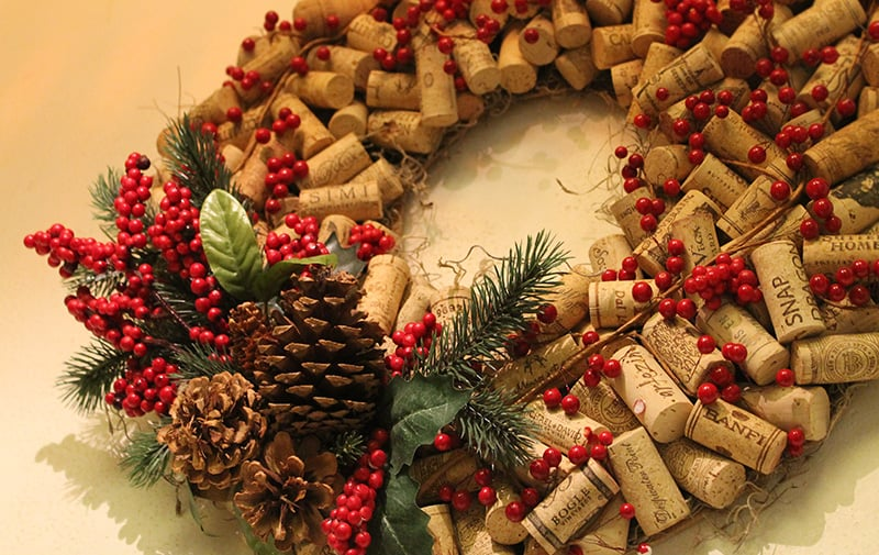 A beautiful wreath hung up above the lobby fireplace, something  Martha Stewart  would make after downing a few bottles of wine.