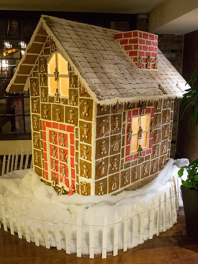 Escaped the rain and arrived at  Hotel Corque ! No, the hotel is not made of gingerbread... that's just a giant gingerbread house that was   inside the hotel lobby.