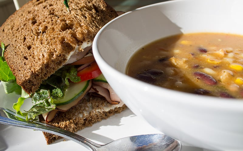 """My tummy said """"REAL FOOD, PLEASE"""" so I ate a Black Forest Ham and Swiss sandwich with Tex-Mex Chicken soup. The sandwich was bomb, yo (here's a  better photo  of it)."""