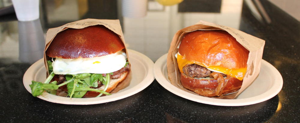 HOLLA AT THOSE BUNS  —  simply dressed in paper bag wrappers onmatching paper plates (aww).