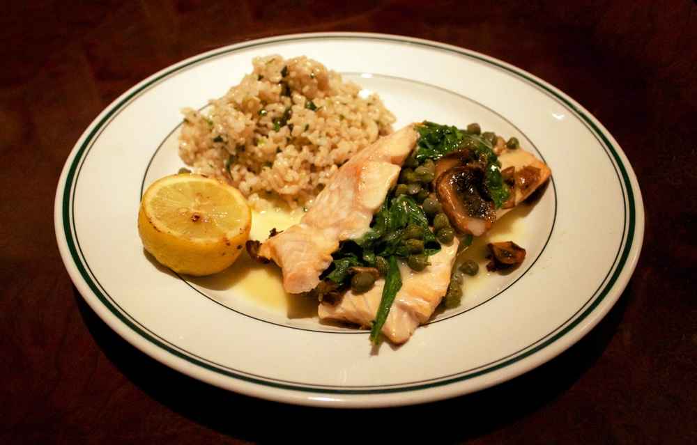 STUFFED SALMON  —  aromatic brown rice, salmon w/   spinach, mushrooms, and capers.