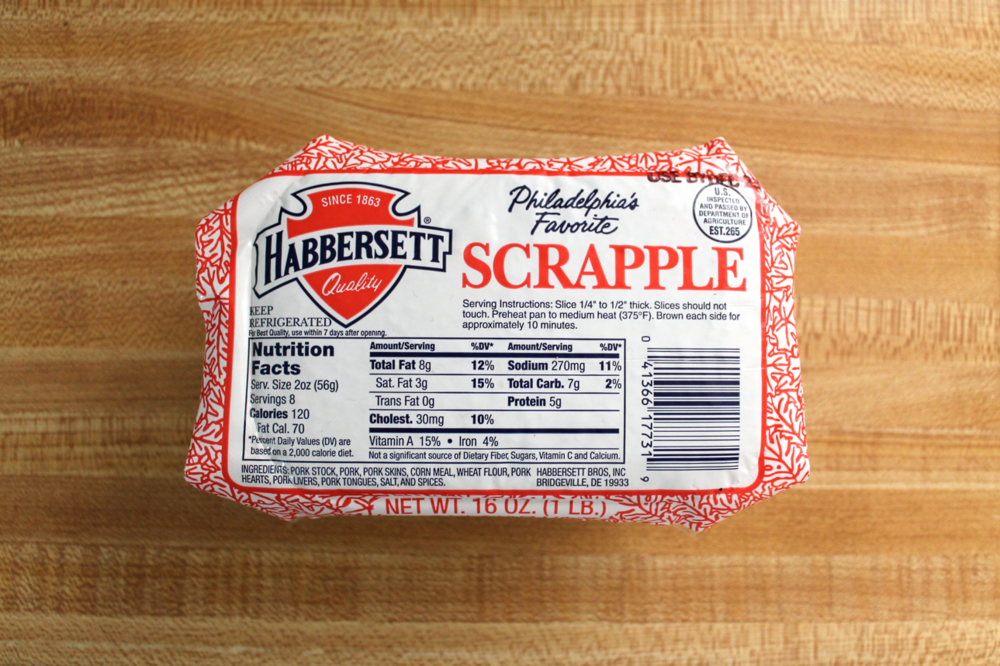 Original Habbersett Scrapple is the OG of scrapple products. It comes in a small, brick-sized package and all of its pertinent info is conveniently displayed on the top side.