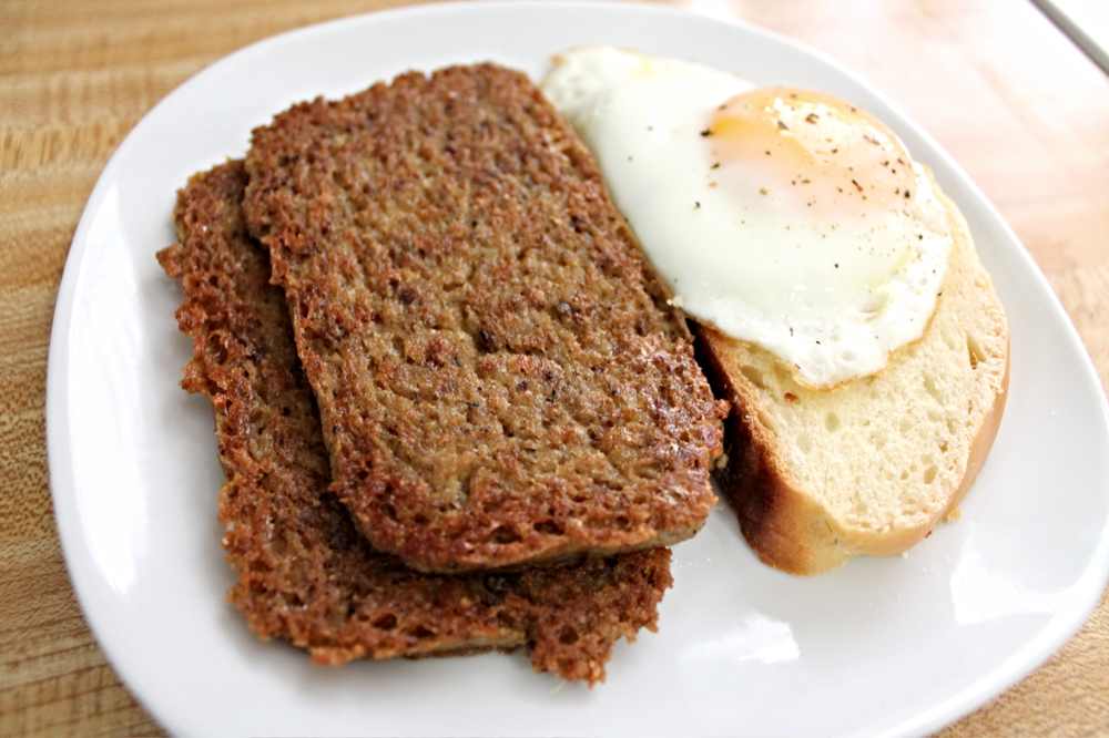 The end result: Crispy-fied Scrapple, plated with a slice of homemade challa bread & topped with a partly cloudy egg (sunny side + quick cover with lid).