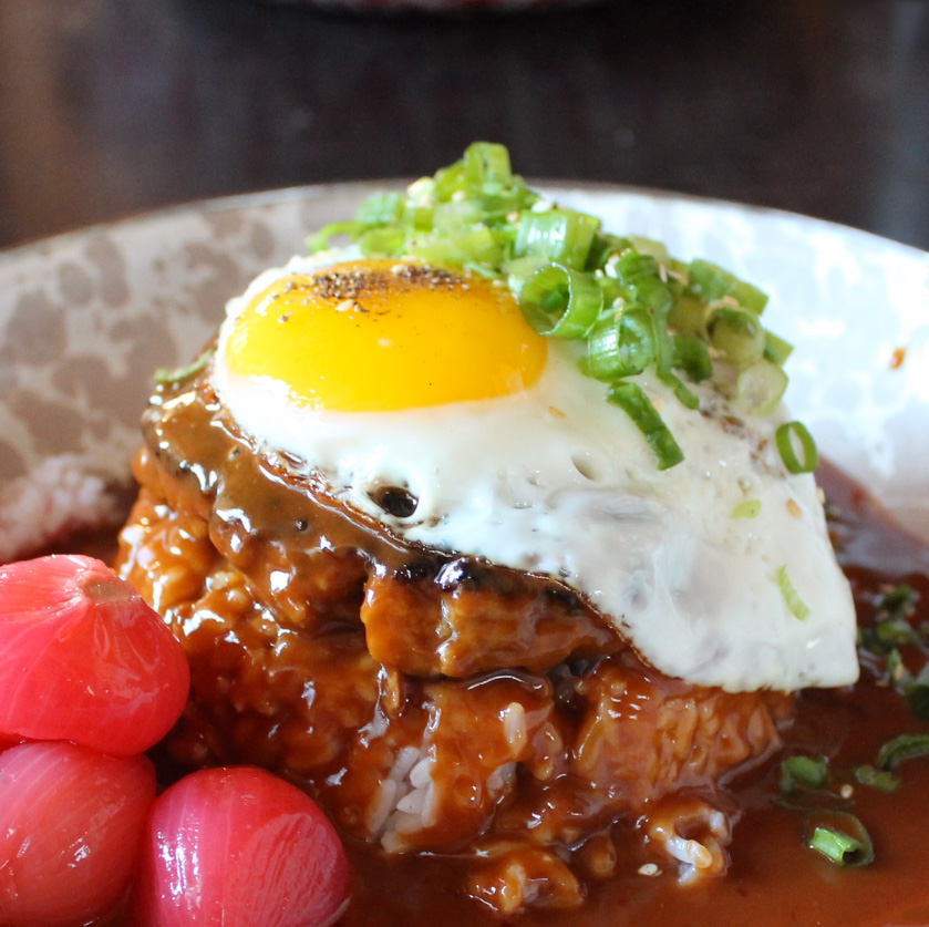Loco Moco   — yes, I went loco for this moco!! and yes... it's as addictive as coco (just kidding, I've never tried that stuff, please don't tell my parents). I didn't care much for the pickled pearl onions, but DAT CURRY GRAVY... MMPH. I'm a strong believer that classics should remain classics, but this twist on the gravy receives my figurative fist bump.