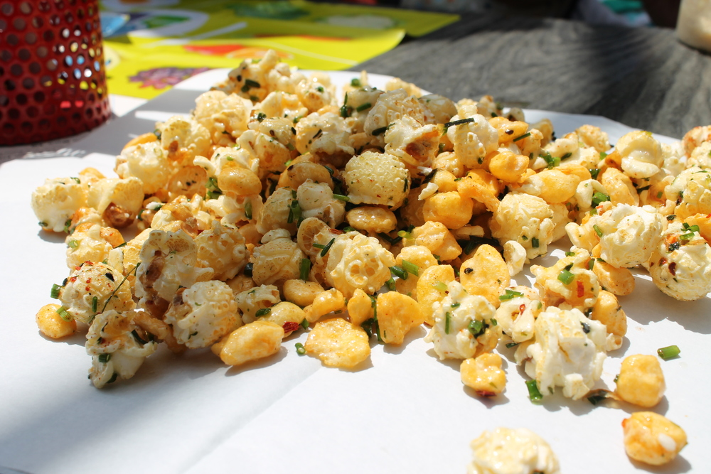 Furikake Kettle Corn   — my friend Gary had heard about this appetizer before, and I am glad he suggested it. A fun way to start a meal, this is a medley of kettle corn + corn pops splashed with butter and topped w/ chives, furikake, and chili flakes.