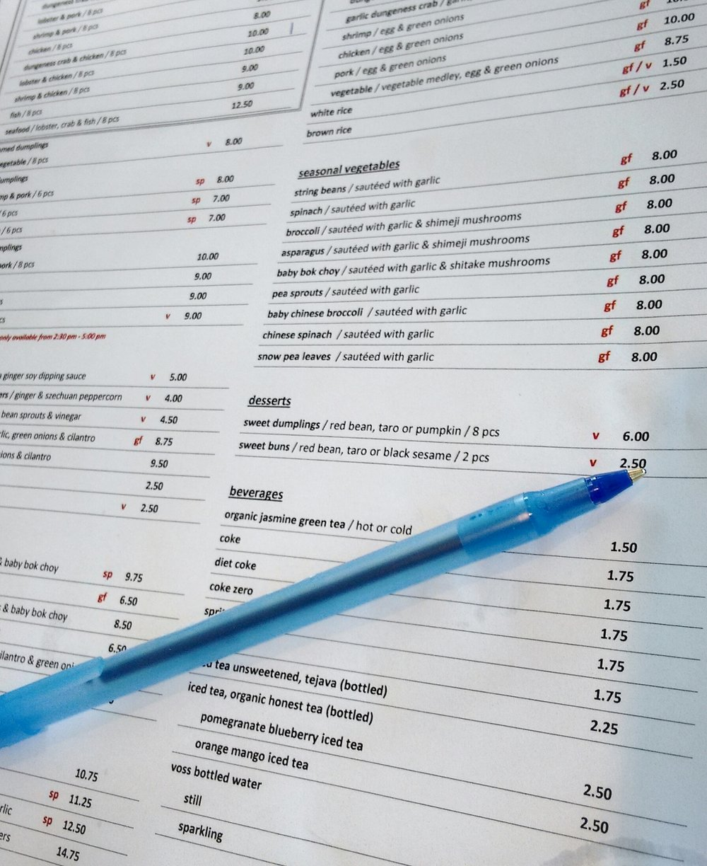 Like a sushi joint, you start out by marking a paper with your desired order. With this being a soft opening, there were no pictures online to reference, but that made deciding much more adventurous.