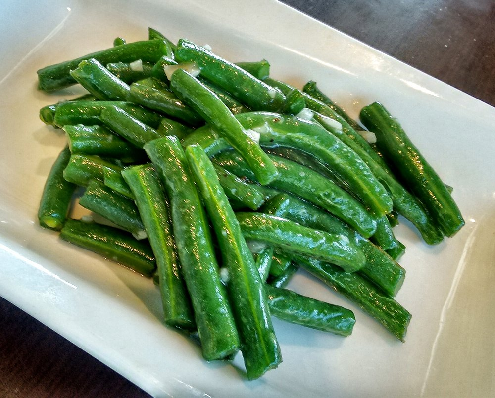 Would never have thought to order  String Beans , but these scrumptious babies were given to us on the house. What a lovely surprise, as these were beautifully sautéed with garlic and were some of the best I've ever tasted.