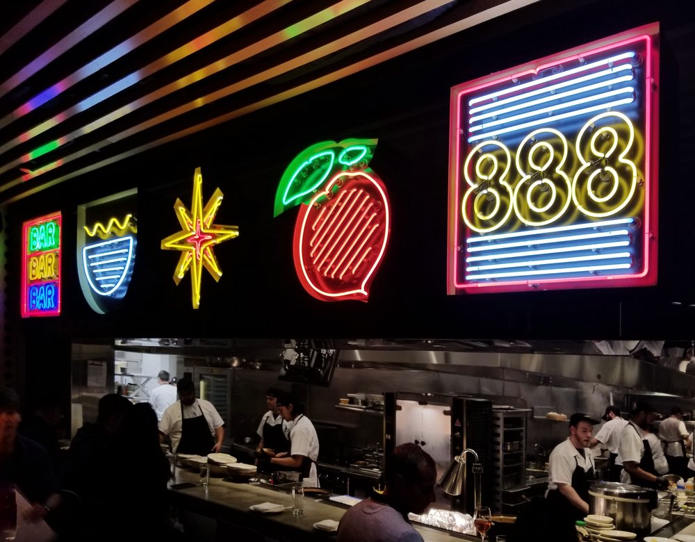 Peach Bar  — bright neon lights adorn the kitchen side of the Peach Bar, as guests get a VIP view of the evolution of deliciousness. According to my count, half of the cooks wore their hats backwards, so they must be fans of opposite day.