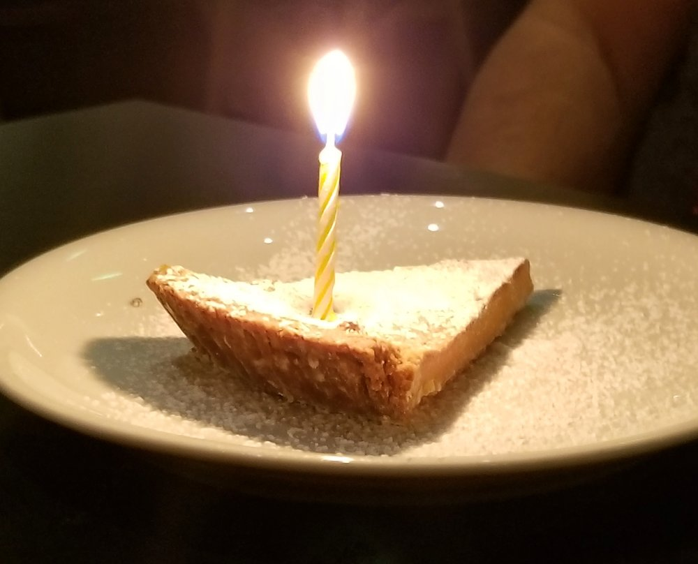 Crack Pie  — when making a reservation on  OpenTable  nearly a month prior, I put in the comments that it would be a special birthday for Gary. At the end of our meal, our waiter Matthew delighted us with a serving of Milk Bar's notorious  Crack Pie .