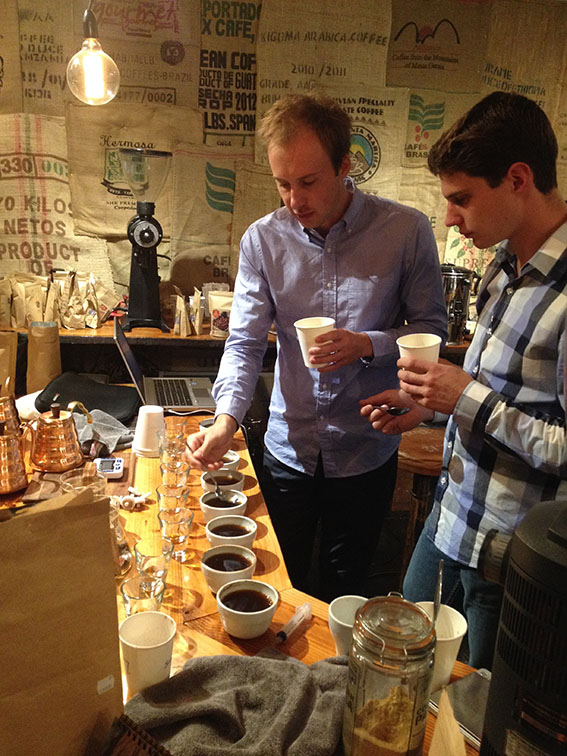 Cupping microlots at Zest Green Room