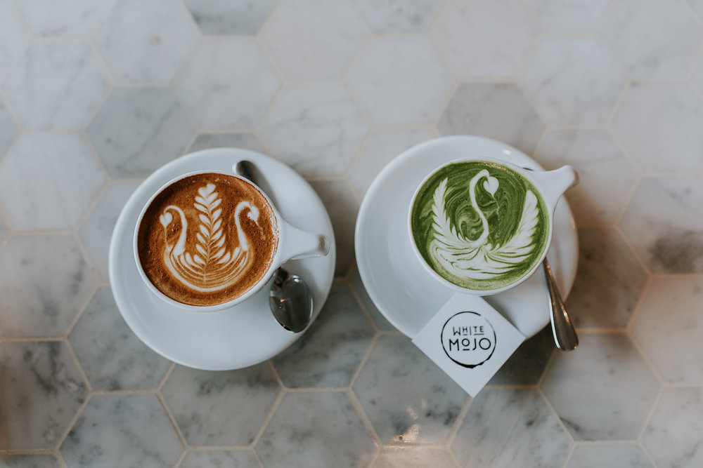 White MOJO Zest Specialty Coffee Latte Matcha Art