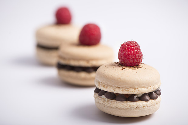 VANILLA MACARON WITH DARK CHOCOLATE GANACE