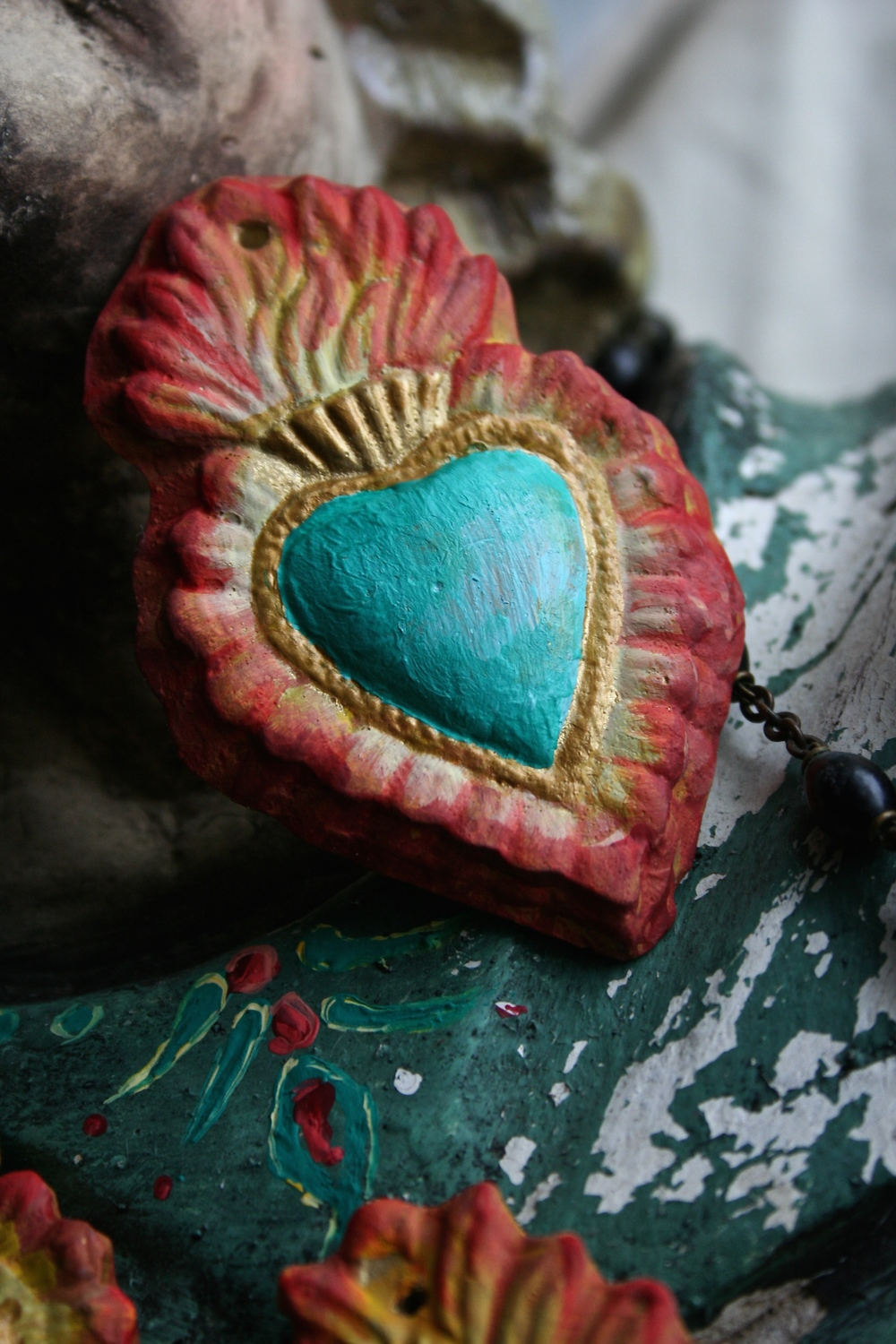 scrap velvets, or other fabrics and textiles onto the heart area for a nice tactile texture.