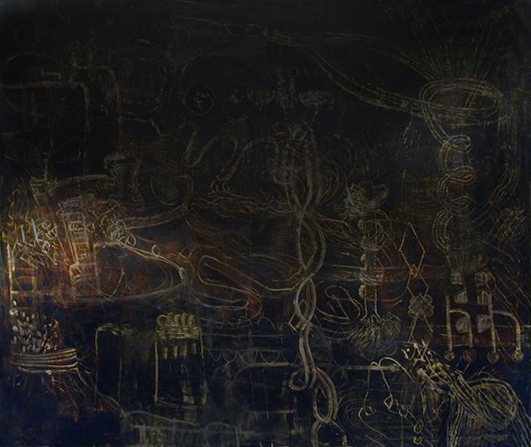 DNA Vortex Twine | Tina Douglas | Egg Tempera on canvas | 151 x 180cm | 1999 | Pinacotheca Gallery, Melbourne | 2001