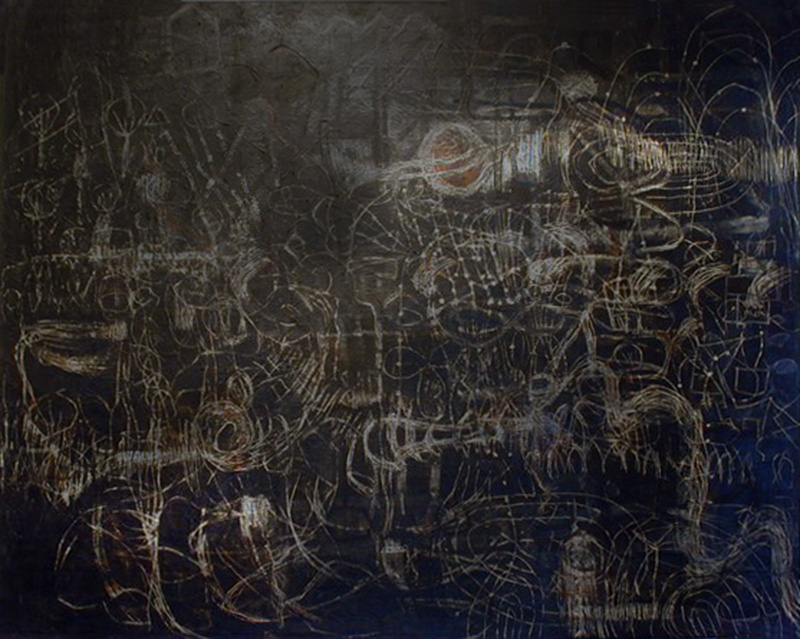 Neutrino-Astro Hub | Egg Tempera on canvas | 198 cm x 249 cm | 1998  | Pinacotheca Gallery, Melbourne | 2001 | Private Collection