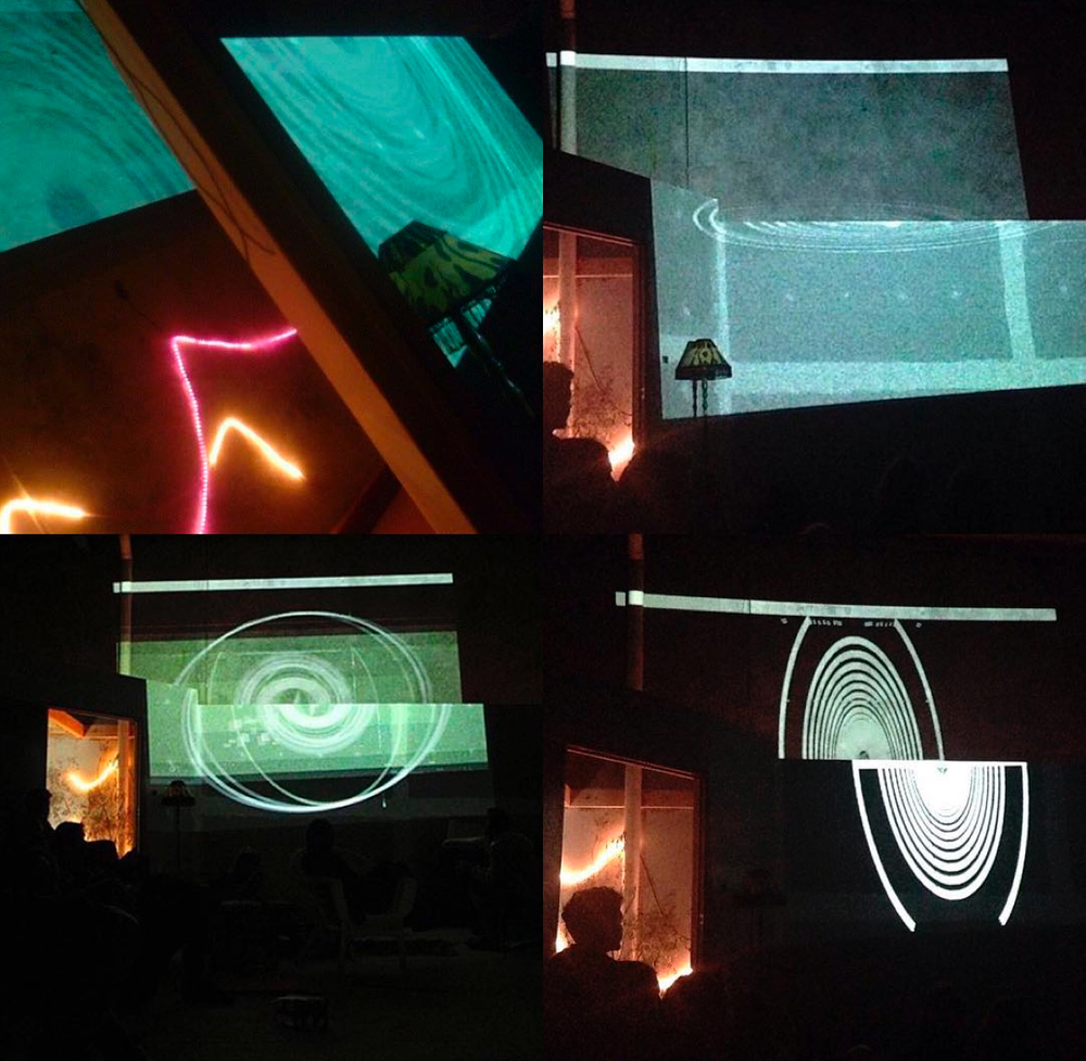 Fire& Sound @ magnetstudios 2015  barisal-guns: Tina Douglas (Laptop, sensor devices synthesising 3D position data, Apple Magic Pad & Leap Motion controller, sound reactive realtime video feed) & Peter Webster (iPad, H4 Zoom recorder feedback). Photos by: 1. Peter James, 2. Josie Jo 3. Matt Faisandier 4. Josie Jo.