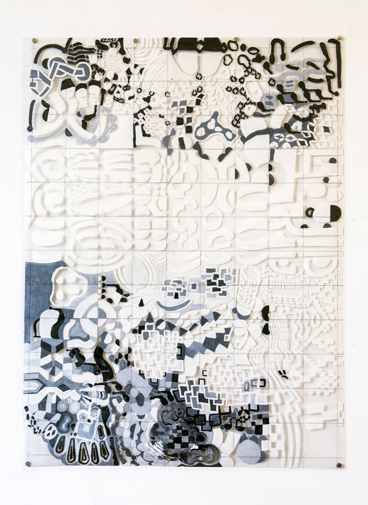 Tina Douglas | 91.5 x 110cm | Acrylic paint on printed acetate grid | Remote Access | Place Gallery, Melbourne | 2013