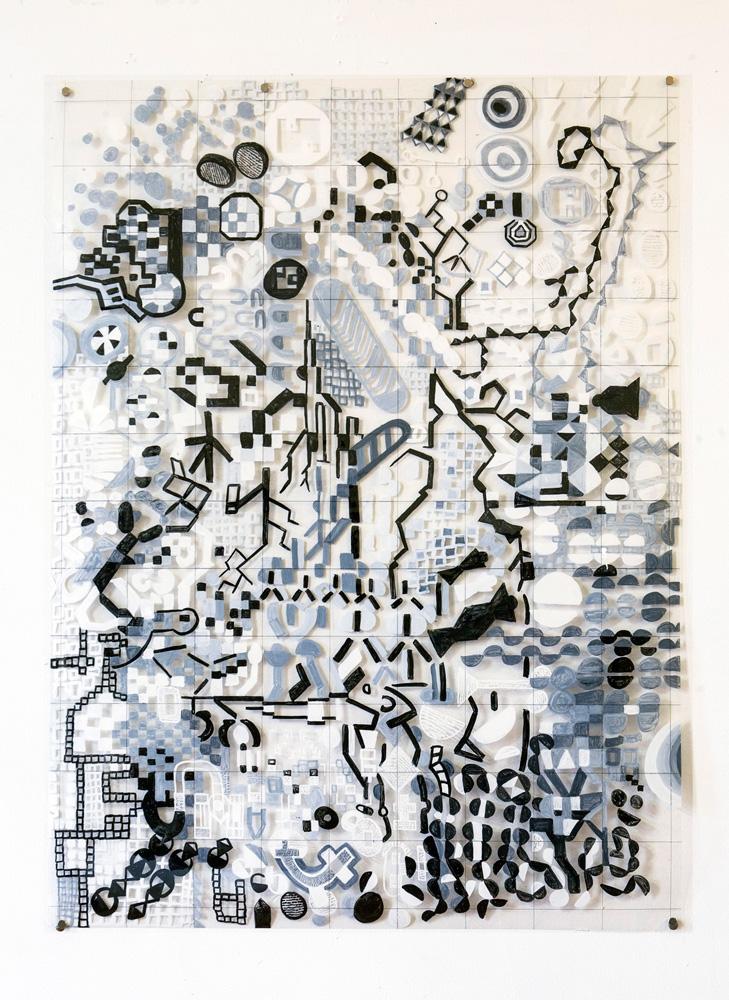 Cytoplasmic-Bridges | Tina Douglas | Acrylic paint on printed acetate grid | 96.8 x 71cm | 2013 | Remote Access | Place Gallery, Melbourne | 2013
