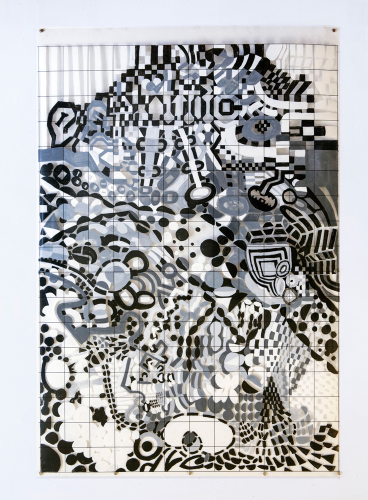 Crashplan | Tina Douglas | Acrylic paint on printed acetate grid | 91.4 x 137cm | 2013 | Remote Access | Place Gallery, Melbourne |  2013