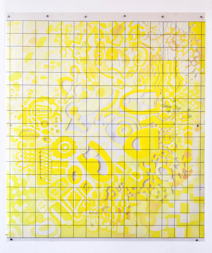 Frazzle-Engine | Tina Douglas | 118.6 x 137cm | Acrylic paint on printed acetate grid | 2013 | Remote Access | Place Gallery, Melbourne | 2013