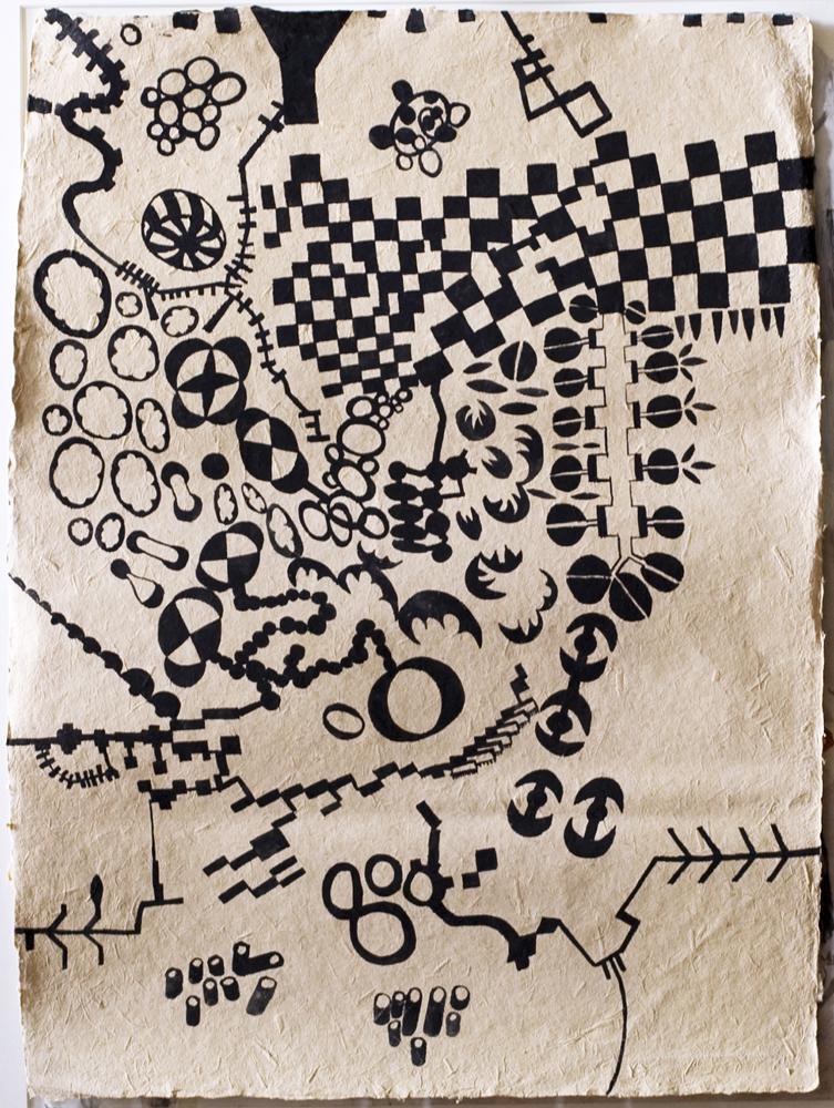 Block-Map | Tina Douglas | Gouache on fibre paper | 75 x 54.5cm | 2009