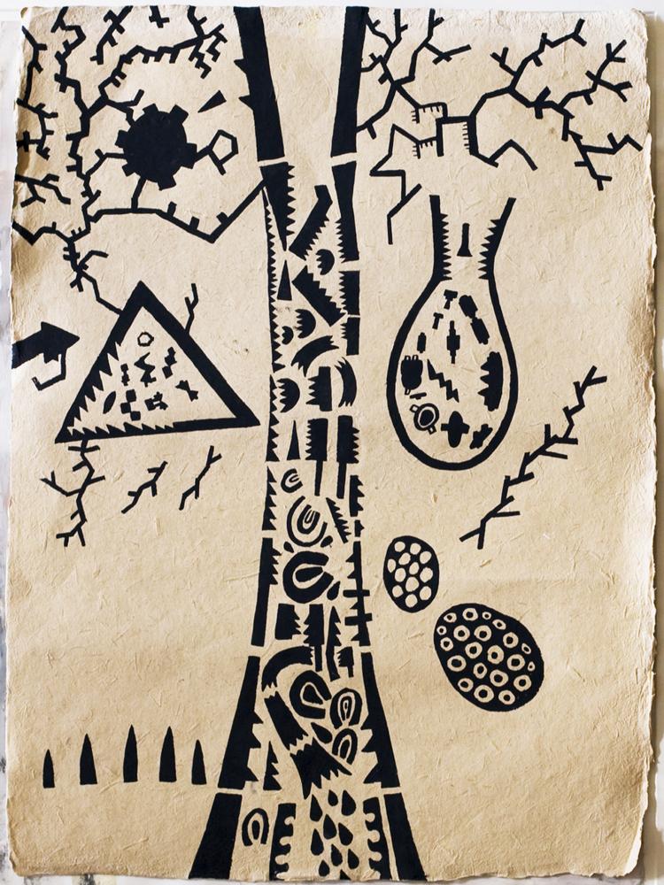 Tree-Map | Tina Douglas | Gouache on fibre paper | 75 x 54.5cm | Works on paper | Place Gallery Melbourne | 2009