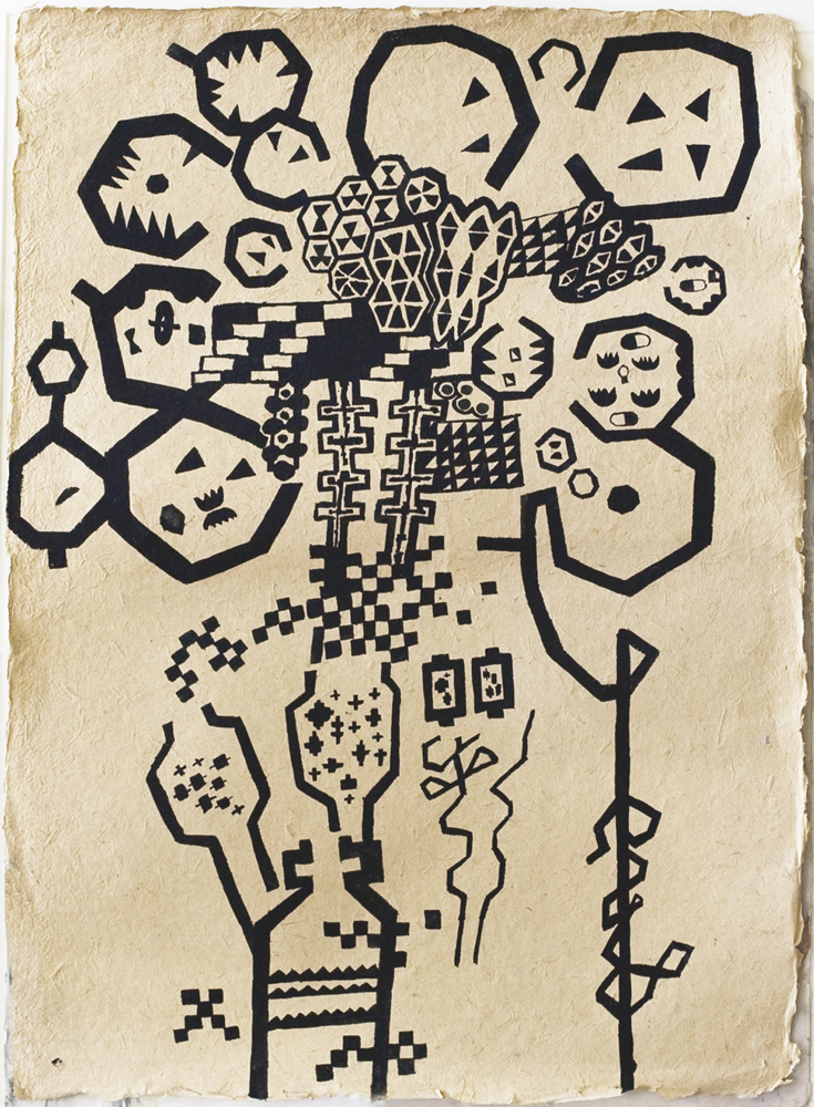 Atom-Map | Tina Douglas | 75 x 54.5 cm | Gouache on fibre paper | 2009