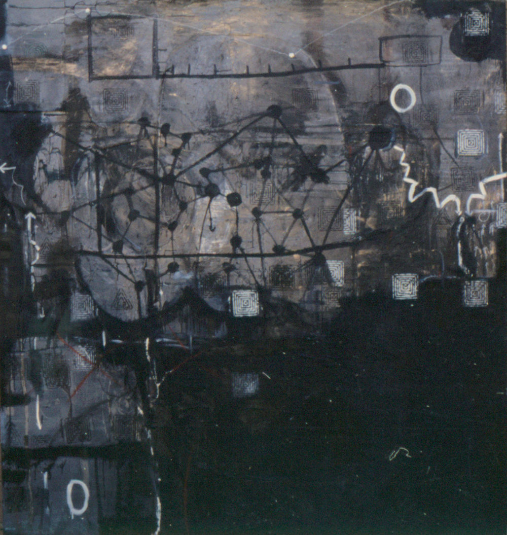 Tina Douglas | Of | Oil paint, enamel, graphite on canvas | 220 x 210cm | 1993
