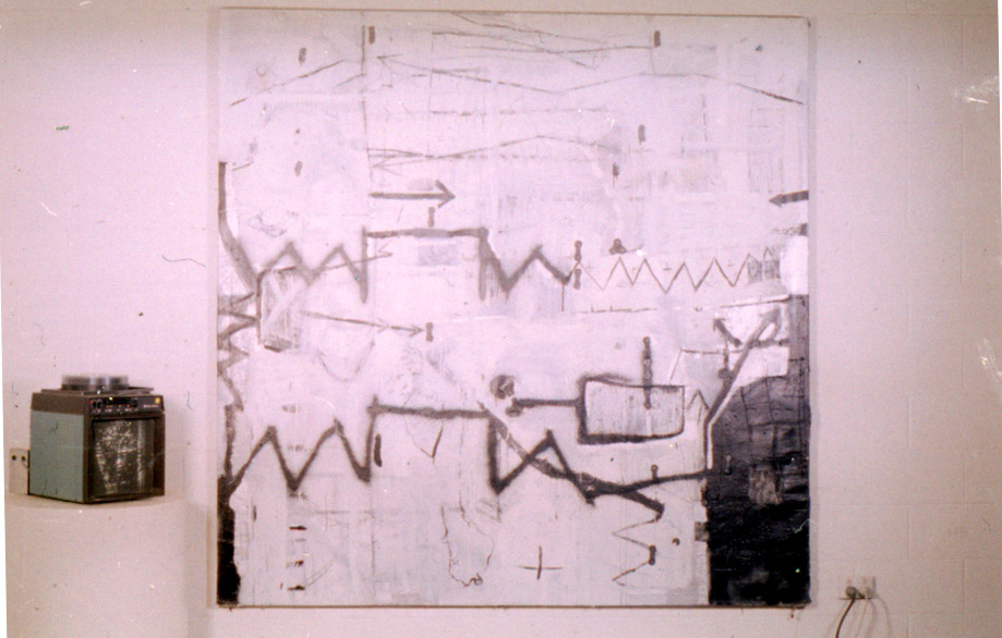 Tina Douglas | Of 2 | 210 x 220 cm | Acrylic and collage on canvas with hand made slides created from Scientific American images| 1993