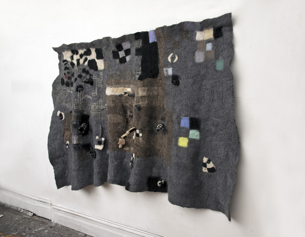Felt  2017  Wool, stainless steel fibre, micro controllers, speakers, sound.  260 x 140 cm  Photograph: Viki Petherbridge
